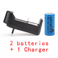 1Charger+2pcs CR 16340 123A Lithium Battery 3.7V 1200mah rechargeable battery for camera,free shipping for singapore post
