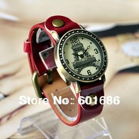 Retro Fashion Quartz Watch Leather Young Women Dress Hour Vintage Watches Casual Lady Wristwatches Eiffel Tower Wrist