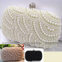 Two Chains Women Pearl Evening Bag Clutch Gorgeous Bridal Wedding Party Bag Free Shipping