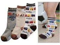 CL0107 Free Shipping New Style a pack of 3 pairs Socks, Non-slip floor Socks Children Boy Socks,Total 6 Pairs hello Letter socks