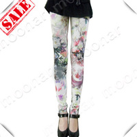 2013 Fashion Women Floral Pattern Scrawl Footless Leggings Pants NY017