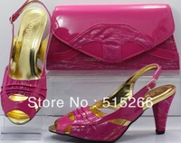 FREE SHIPPING! Hot sale Fashion Italy design shoes and matching bags ,High quality ,Size 39-43 SB8716 fushia pink