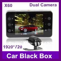 Dual Camera X60 Car DVR 140 degrees wide Angle 2.7inch LCD HD1280*720P G-Sensor HK Free Shipping