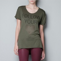 discounts 2014 new  fasion Follow you heart letter print laser sculpture Army Green short-sleeve female t-shirt T285