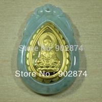 1pcs Grade A Jade Jadeite 24k Yellow Gold Pendants Kuan Yin Kwanyin Guanyin Drop Shaped jade goddess religious charms 033-2#