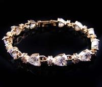 Jewellery white sapphire women's 14KT yellow Gold Filled Bracelets Zircon bracelets