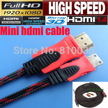 Free shipping high speed hdmi to mini hdmi cable 5m 16ft for portable hdmi devices with nylon mesh&dual ferrite cores