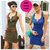 Promotional  Punk Style Wholesale&Retail Women's Mini Dress Sexy Cotton Low Collar Open Buckle Sleeveless Vest Skirt