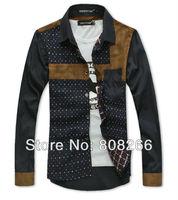 Hot ! 2013 spring new fashion men long sleeve shirt casual slim shirts for men M/L/XL/XXL/XXXL