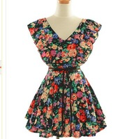 2013 Hot Selling Vintage Style V-Neck Ruffle Sleeve Mini Design Summer FLORAL Fancy Dress