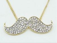 high quality jewelry wholesale full rhinestone efendi mustache long pendant necklace  free shipping HeHuanXL046