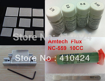 Free shipping bga reballing kit reball station with 10 universal stencils and solder balls + original amtech flux  5 in 1