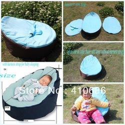 Blue Pink Color Baby Bean Bag Kids Pouffe Sofa Chair Cover Double layers Velvet and Oxford with pvc coating fabric Free Ship(China (Mainland))