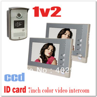 ID Card 7 inches Color video doorphone intercom systems with CCD and Waterproof camera (2 monitors +1 camera) Drop shipping