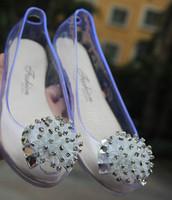 Transparent Flower Open Toe Pvc Female Woemn Sandeal Flat Heel Sparkling Diamond Rhinestone Crystal Shoes Jelly Shoes