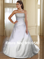 Drop Shipping Manufactured A-line Strapless Beaded Satin White/Ivory Wedding Dress Bridal Gown 2014 New Style