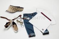 In stock! New fashion brand boy's suit summer 4pcs cloths set short sleeve T shirt+jeans pant+hat+belt 6pcs/lot