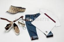In stock! New fashion brand boy's suit summer 4pcs cloths set short sleeve T shirt+jeans pant+hat+belt 6pcs/lot(China (Mainland))