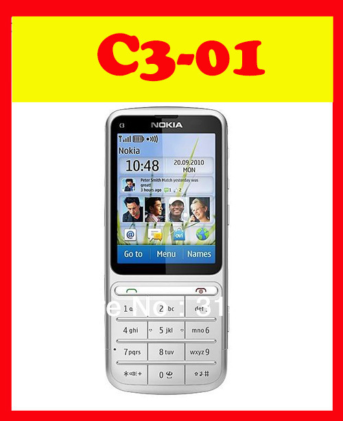 Original Nokia C3-01 Unlocked Mobile Phone 3G Quad Band ( Russian Language & Keyboard ) + GIFT ---Free Shipping(China (Mainland))