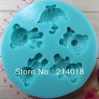 5PCS  lovely bear new style large wholesale  hot sale chocolate silicon mold  fondant Cake decoration mold (si257)