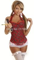 Free shipping ML4064 S/M/L/XL Sexy schoolgirl style Red Plaid Corset Underwear