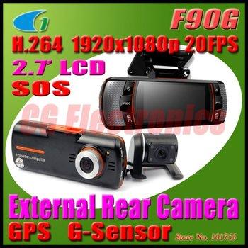 H.264 Full HD 1080P Dual Lens Dashboard Car vehicle Camera Video Recorder DVR CAM GPS Logger/G-sensor