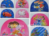 15pcs/lot free shipping Children swimming cap digital printing cute cartoon  boy baby girls bathing cap mixed design