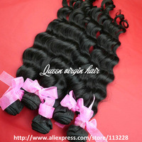 "Queen Hair Products Grade 5a Brazilian Virgin Hair Loose Deep Wave 3pcs lot,12""-30"",Unprocessed Hair  DHL Free Shipping"