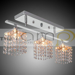 Free shipping Chandelier with 3 lights in Crystal - Linear Design for Bedroom, Dining Room, Entry, Pendant Lights, Flush Mounts(China (Mainland))