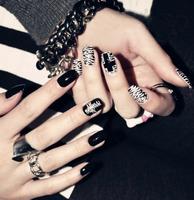 Pure manual nail art decorations zebra punk rock false nail design DIY products 3D full cover free shipping