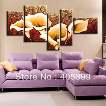 The Calla Lily !!!  5 panels Huge Modern Flower Oil Painting Wall Art on Canvas ,Canvas Wall Art Z001