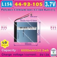 [L054] 3.7V,6000mAH,[4493105] PLIB (polymer lithium ion battery/LG) Li-ion battery for tablet pc,GPS,speaker;P85,VI40,A86