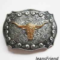 Drop shipping gold steer belt buckle Western Rodeo Longhorn Bull Cowboy Western Belt Buckle Nice Gift For Him