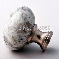 White Galaxy Stone Wardrobe Closet Knob,3pcs Unique Furniture Knobs Handles,Natural Granite with Brass Base,Satin Nickel Finish