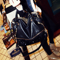 2013 fashion bag casual all-match leopard print paillette bag one shoulder handbag women's handbag m06-124