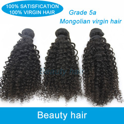 Grade aaaa mixed length 3pcs/lot unprocessed queen Mongolian virgin human hair weave kinky curly,1b#,wholesale,free shipping(China (Mainland))