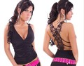 Dl lace decoration sexy fashion sleeveless deep V-neck women's t-shirt  LC 25065 - 1 LC25065-2