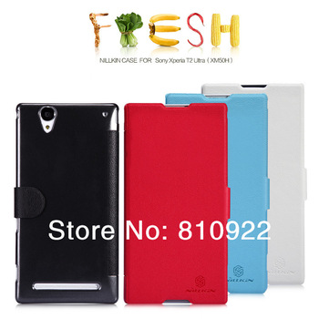 Genuine Nillkin Fresh PU Leather Case For Sony Xperia T2 Ultra Case Book Style,4 Colors,Free Gift & Shipping