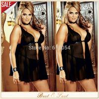 Black Plus Size Lingerie Sexy Transparent Baby Doll For Fat Woman & Thong Chiffon Sleepwear Babydoll Dress M L XL XXL XXXL