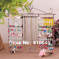 Free Shipping New Jewelry Display 64 Holes Earring/Necklace Display Show Case Rack Stand Tree Storage Holder Organizer Case