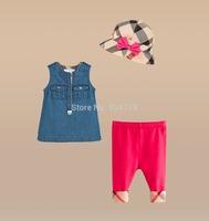 2014 New Girl Cloth Sets Summer Children Fashion Brand 3pcs Sets Hat+Denim Vest Top+Legging Pant 6sets/lot
