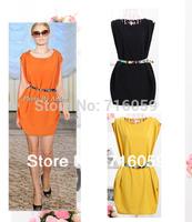 FREE SHIPPING women ladies sleeveless dress tunic dress crew neck button shoulder dress with belt orange&yellow Promotion