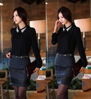 2013 new Ladies' fashion blouse women's long sleeve autumn spring chiffon shirts with rivet  #1038
