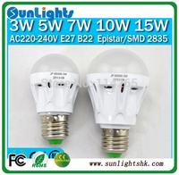 Free Shipping LED Bulb 2W 3W 5W 7W 10W 15W Led Lamps E27 B22 AC220V-240V  2835, 5630 SMD LED light  Cool/Warm White