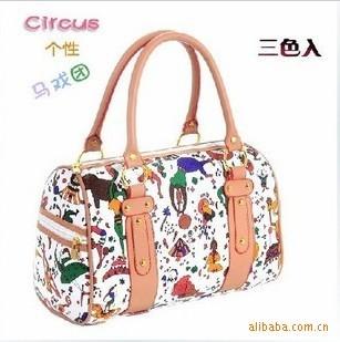 HOT, EBAGS The cute cat bag Circus Print handbags  fashion ladies circus casual tote bags
