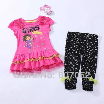 Free Shipping Wholesale children/girls dress  kids dress  dora dress sets baby clothing sets  8sets/lot CS311