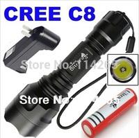UltraFire Tactical Torch Light C8 Q5 CREE Flashlight 800lm 1x18650 battery EU US Chargers lamp