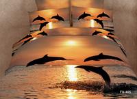 Unique dolphins 3d bedding set queen size 4pcs ocean animal duvet/quilt/comforter cover bed sheet bedclothes cotton home textile