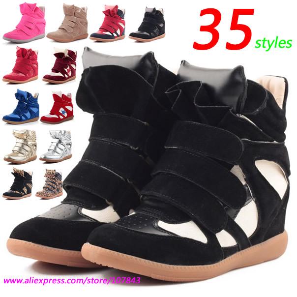 Wholesale Isabel Marant Fashion Sneakers,Leather&PU Black-white Velcro,Women's Shoes,Size 35~42,Height Increasing 6cm,No Logo(China (Mainland))