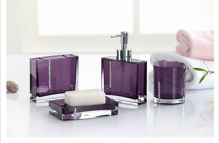 Shop popular purple bath accessories from china aliexpress for Purple bathroom accessories